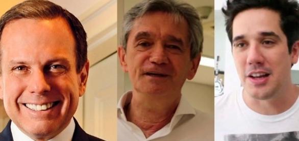 Na foto, o prefeito João doria, o apresentador Serginho Groisman e o vocalista Rogério da banda Jota Quest