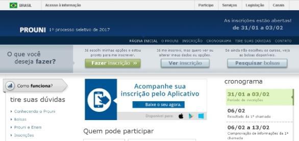 Página oficial de inscrição no ProUni