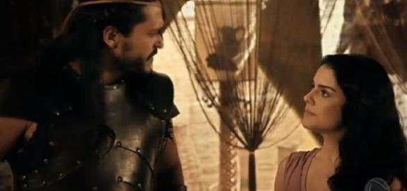 Tobias e Samara em 'A Terra Prometida' (Divulgação/Record)