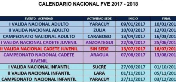 Calendario Nacional FVE 2017 - 2018