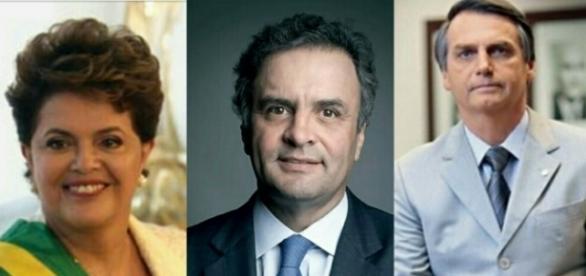 Dilma Rousseff, Aécio Neves e Jair Bolsonaro