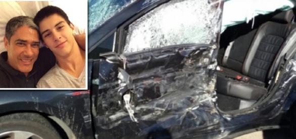 Vinícius filho de Bonner e Fátina passa bem, após sofre acidente de carro