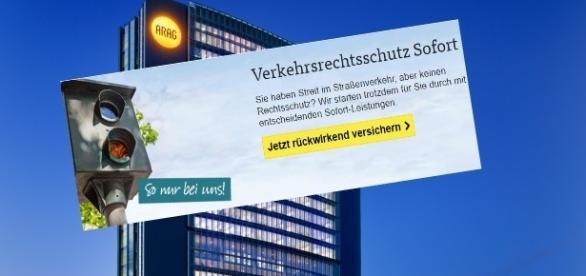 ARAG Zentrale und Anzeige der Versicherung / Fotos: ARAG Pressestelle; Screenshot