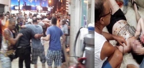 Na primeira imagem a confusão gerada pela ação dos bandidos, e na segunda uma das pessoas atingidas.