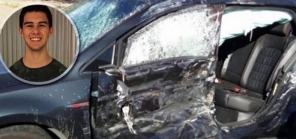 O carro do filho de Fátima ficou destruído