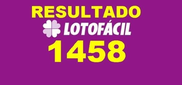 Resultado do jogo Lotofácil 1458