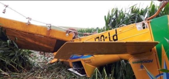 Avião que caiu em área rural em Guarapuava no Paraná