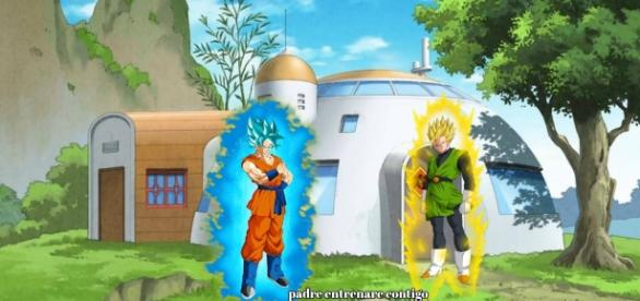 Goku se enfrenta a Gohan en la casa de Milk