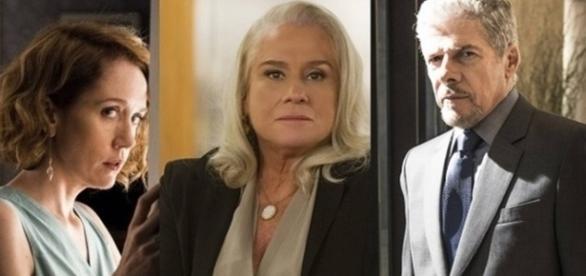 Vitória, Magnólia e Tião em 'A Lei do Amor' (Divulgação/Globo)