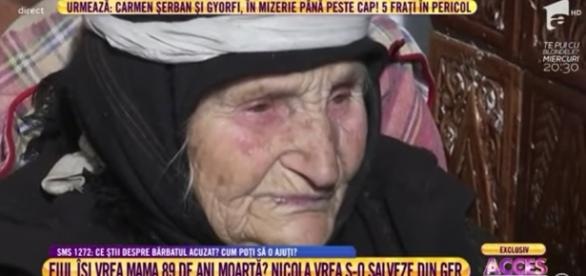 batrana de 89 de ani, chinuita de fiul ei