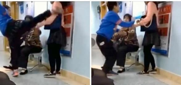 Menino dá vários pontapés na mãe em hospital