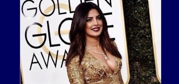Priyanka on the red carpet at the Golden Globe awards, screencap from @jazmasri via Twitter