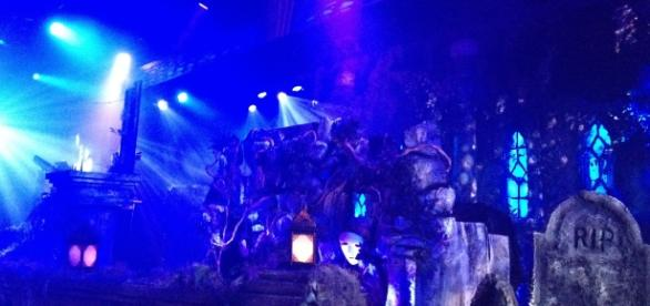 A rare look at Midnight Syndicate's stage set;. (Photo by author Samuel Di Gangi of Passing Time)