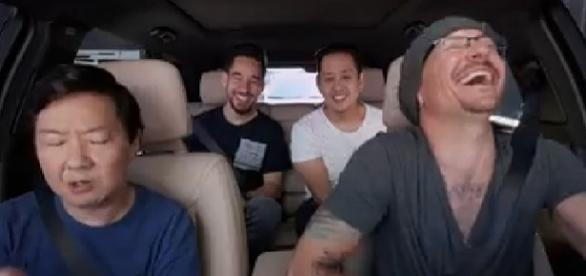 "Linkin Park released the episode of ""Carpool Karaoke"" with Chester Bennington and Ken Jeong [Image via Linkin Park/Facebook video screencap]"
