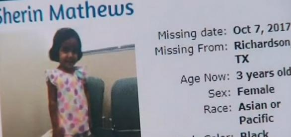 Sherin Mathews is still missing from Richardson, TX. (Image Credit: WFAA/YouTube)
