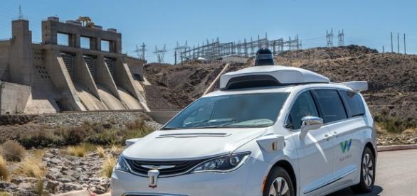Waymo's self-driving car takes a desert road trip to thermal test its sensors (Waymo/Twitter).