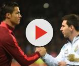 Cristiano Ronaldo e Lionel Messi, representando suas seleções