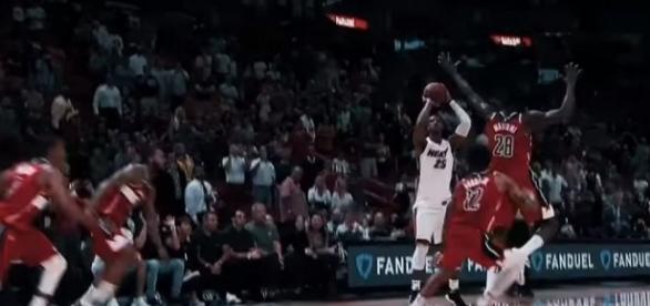 Jordan Mickey's game winning shot against the Washington Wizards [Image Credit: Miami HEAT/YouTube]