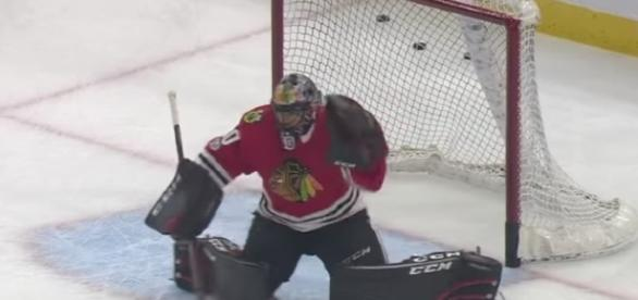 Corey Crawford and the Chicago Blackhawks are the favorites to win the NHL Stanley Cup as of right now. [Image via NHL/YouTube]