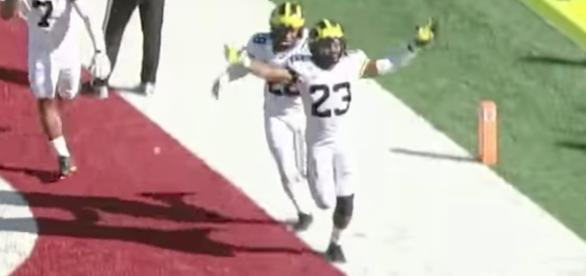 Tyree Kinnel's overtime interception helped Michigan hold on for a 27-20 win over the Hoosiers on Saturday. [Image via Big Ten Network/YouTube]
