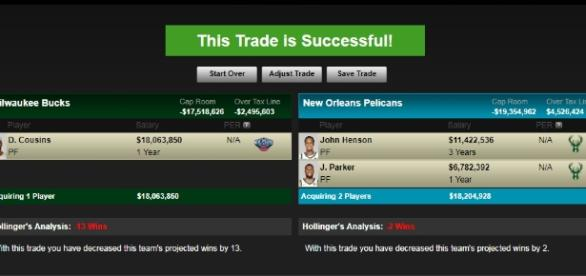 A proposed trade between the Pelicans and the Bucks - (Image Credit:- trademachine ESPN/Youtube)