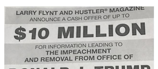 Larry Flint ofrece 10 millones de dólares para la destitución de Donald Trump