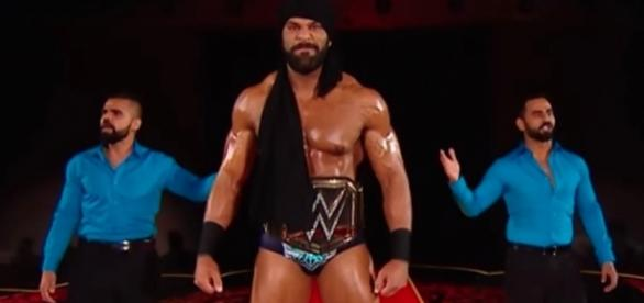"""WWE Champion Jinder Mahal has a big announcement to make on Tuesday night's """"SmackDown Live."""" [Image via WWE/YouTube]"""