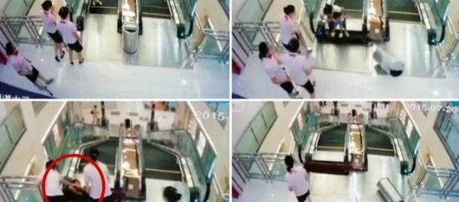 Mutter wird von Rolltreppe verschluckt - rettet vorher noch ihr Baby!