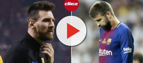 Leo Messi y Gerard Piqué en el campo