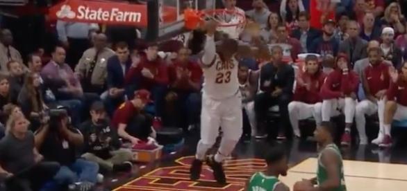 LeBron James and the Cavs won their season opening game 102-99 against the Boston Celtics. [Image via NBA/YouTube]