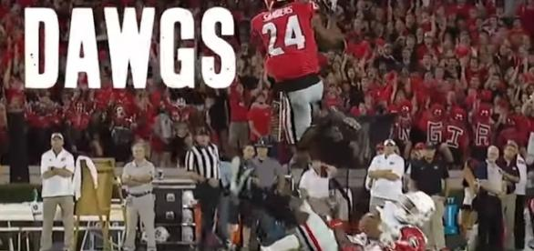 The Georgis Bulldogs are flying high in the college football polls and power rankings. -- YouTube screen capture / SEC