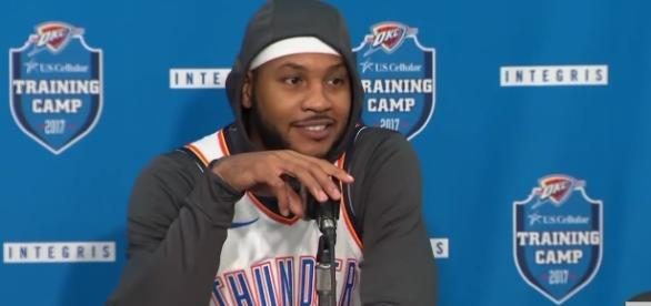 Anthony is ready to get his new career with the Thunder started. [Image Credit: ESPN/YouTube]