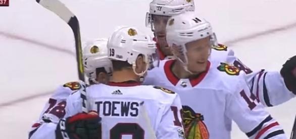 Blackhawks celebrate in Arizona before heading to Vegas - image - NHL/Youtube