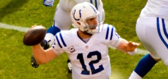 Andrew Luck vs Browns 2014 [Image by Erik Daniel Drost|Wikimedia Commons| Cropped | CC BY- 2.0 ]