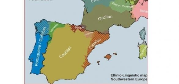 Ethnic-Linguistic map of Southwestern Europe, c. 2000
