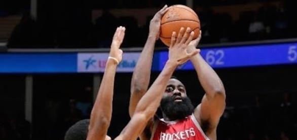 James Harden and the Rockets defeated the OKC Thunder in preseason action Tuesday night. [Image via NBA/YouTube]