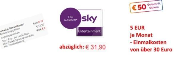 Sky verspricht 50 Euro Guthaben, doch die Einmalkosten machen daraus rechnerisch weniger Geld / Fotos: Sky.de (Montage)