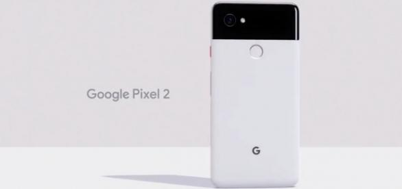 The new Google Pixel 2 smartphone with its distinctive, two-tone color scheme. | Image Credit (TechCrunch/YouTube screenshot)