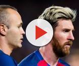 Iniesta se desmarca de Messi, Piqué y Suárez
