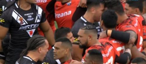 New Zealand players square up to the Tongans at the end of their infamous Haka display - thesun.co.uk