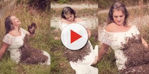 Mulher que apareceu na web após ensaio grávida com milhares de abelhas, anunciou a perda do bebê