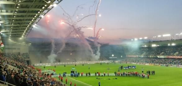 Fireworks mark Northern Ireland qualifying for Euro 2016 (Credit: Owen Polley 2016).