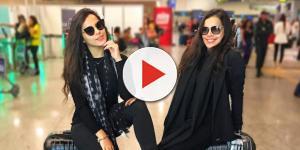 Emilly e Mayla no aeroporto internacional rumo à França