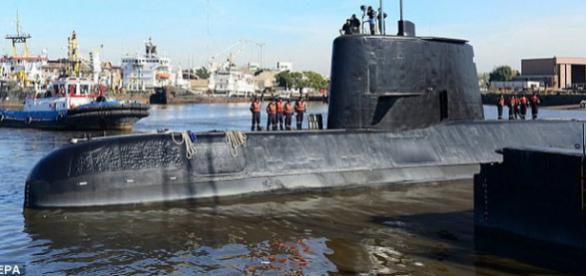 Submarinul ARA San Juan a fost dat dispărut de mai bine de o săptămână de la ultimul mesaj transmis - Foto: Daily Mail (© EPA)