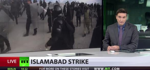 Ongoing agitation in Pakistan. (Image credit YouTube -RT News)