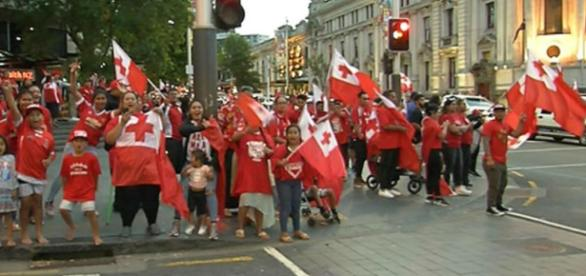 Tongan fans protest in the streets of Auckland after defeat to England. Image Source: newshub.co.nz