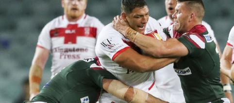 Ryan Hall - shown here - scored his 33rd try in 34 games for England in their uconvincing victory over Lebanon. Image Source: Sky Sports