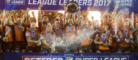 Castleford Tigers lift the League Leaders' Shield for the first time everer thrasing Wakefield Trinity 45-20. Image Source: The Sportsman