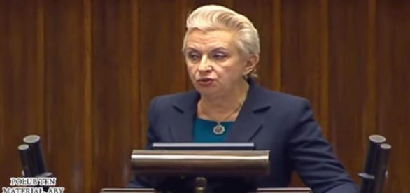 Elżbieta Gapińska z PO kompromituje się podczas obrad Sejmu (screen YouTube)