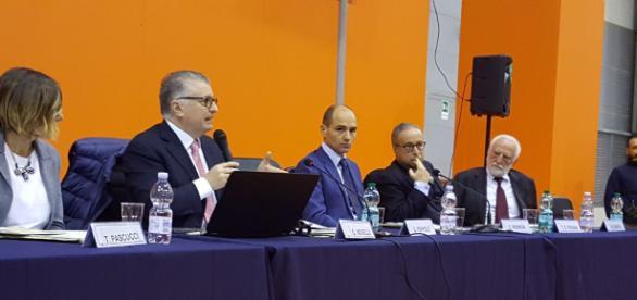 Giuseppe Novelli alla cerimonia di apertura di 1,2,3 Scienze